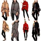 Plaid Checked Turtleneck Poncho Wrap Loose Fit Knit Fringe Cape Shawl Sweater