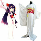 Japanese Anime Traditional Women White Dress Furisode Kimono Cosplay Costume