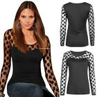Women Sexy Slim Long Sleeve Crew Neck Mesh Polka Dot Fall Bottoming Shirt Tops
