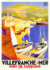 Vintage Art Deco Travel Poster Villefranche sur Mer 1920s French Riviera Ships