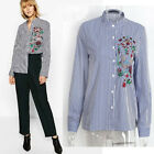 Women's Floral Embroidery Blouse Tops Autumn Long Sleeve Striped loose Shirt