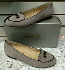 TROTTERS ~ CHEYENNE ~ SLIP- ON FLAT IN  DARK NUDE SUEDE WITH BROWN TRIM REG.$130