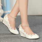Royal Pearl Wedge Lace Floral Shoes Women Wedding Party Bridal High Heels Pumps