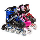 LED Roller Blades Kids Adjustable Inline Speed Skates Girls Size 1-3 US