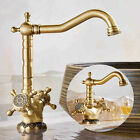 Bathroom Kitchen Faucet Antique Brass Hot Cold Water Sink Dual Handle Mixer Tap