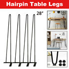 "8"" - 30"" Coffee Table Metal Hairpin Legs Solid Iron Bar Black Set of 4"