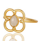 Natural Rainbow Moonstone 925 Sterling Silver Gold Plated Ring Designer Jewelry