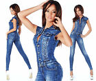 Sexy New  Womens Blue Denim Jeans Corset Jumpsuit Overall  Y 143