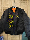 ALPHA PHI ALPHA Black MA-1 Flight Jacket with Letters and Crest Size S thru 5XL