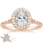 9ct Rose Gold Halo Solitaire with Accents Oval Created DIAMOND Engagement Ring