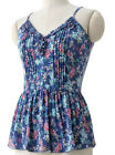 NWT~LAUREN CONRAD Pink/Blue/Green/Coral/Gold Floral Tank Top w/Birdies~Size XS