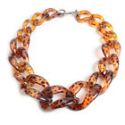 Hot Women Leopard Acrylic Collar Chunky Choker Statement Twist Necklace Pendant