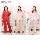 MASALING Elegant Women Lady V-neck Smooth Silk Long Sleeve Pajamas Sleepwear