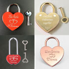 Personalised Engraved Padlock Wedding Gift Love Heart Lock Anniversary With Key
