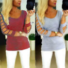 Women Long Sleeve Hollow Cotton Casual Blouse Top Hoodies Pullover Sweater New