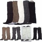 Women Knee High Cable Knit Leg Warmers Crochet Leggings Boot Socks Covers Slouch