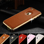 Luxury Leather & Aluminum Hard Metal Bumper Case Cover For Apple iPhone 6/6 Plus