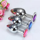Butt toy Plug Anal Insert Stainless Steel Metal Plated Jeweled Sexy Stopper Size