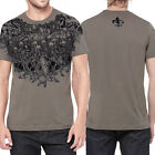 Affliction Army Skeleton Skull Battle Mens T-Shirt Brown ONLY SMALL - VERY RARE