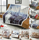 Modern Animal Sherpa Faux Fur Throws Mink Fleece Super Soft Luxury Warm Blanket