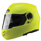 VCAN V270 FLIP FRONT SIZE SMALL MOTORCYCLE SCOOTER HELMET HI-VIZ YELLOW BE SEEN