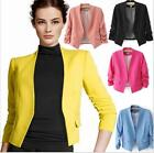 Casual Slim Fit Suit Blazer Coat Jacket Tops Women Candy Color 3/4 Sleeve USShip