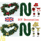 Uk 2.7m/9ft Decorated Garland Christmas Decor Xmas Fireplace Tree Pine Ribbon