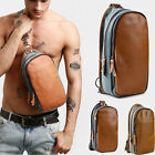 Men's Genuine Leather Sling Bag Crossbody Chest Pack Convertible Canvas Backpack