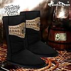 LADIES DESIGNER WESTERN CASUAL PLUSH BLACK BOOTS ~ VERY WARM & COSY