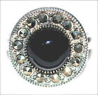 BLACK ONYX Circle Half-Dome RING Marcasite 925 Sterling Silver (SIZE 6,7,8)