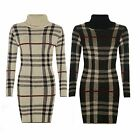 Women Knitted Tunic Dress Check Print Long Sleeve High Polo Neck Bodycon Dress