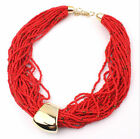 Bohemian Multilayer Beads Weave Bib Fashion Jewelry Choker Coller Necklace Chain