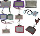 LANYARD AND ID BADGE RHINESTONE CRYSTAL HOLDER FOR PHOTO ID CARDS horizontal