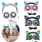 Cartoon Cat Ear headphones Gaming Headset Earphone Foldable Flashing with LED