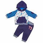 Baby Boys 2 Piece Stars Design Tracksuit Hoodie and Jogging Bottons in Blue