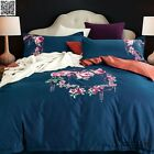New 100%Cotton Floral Embroidery Quilt/Doona/Duvet Cover Set Queen/King Size Bed