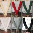 HA Soft Stretchy Long Sleeve Fingerless Gloves Cashmere Arm Warmers Sleeves