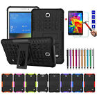 Silicone Rugged Stand Hard Back Cover Case + Tempered Glass Film For Apple iPad