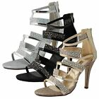 Ladies Womens High Stiletto Heel Open Toe Ankle Strappy Party Sandals Shoes Size