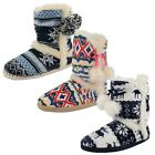 Ladies Dunlop Slippers Warm Womens Indoor Textile Slipper Boots Bootie Shoes