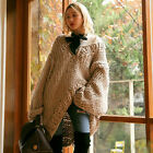 Women`s Chunky Ribbed Sweater Brown V-neck Cable Knit Sweater Oversized Pullover
