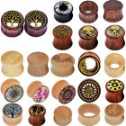 PAIR Natural Wood Ear Gauges Flesh Tunnels Double Flared Ear Plugs US STOCK image