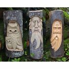 Fair Trade Hand Carved Wooden Green Man/Owl Tree Trunk Stump Log Statue