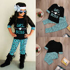 2PCS Toddler Kids Baby Girls Outfits T-shirt Tops Dress+ Long Pants Clothes Set