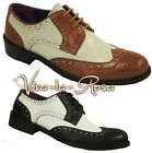 1920's 30's 40's noir hommes Cuir Blanc Gangster Jazz Gatsby Chaussures Brogues