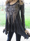Vocal Plus Cross Angel Wings Tattoo Black Mineral Wash Tunic Shirt 1X 2X 3X