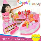 38pcs Pretend Role Play Kitchen Toy Birthday Cake Food Cutting Set Kids Xmas
