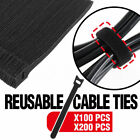 100pcs 200pcs Nylon Cable Ties Cord Hook Loop Strap Wrap Reusable Electrical AU