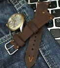 18mm 19mm 20mm Distressed Italian Vintage Genuine Leather Watch Strap H/M, Brown