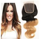 "3 Part  Way 4""x4"" Brazilan Body Wave  1b/27# Ombre Remy Human Hair Lace Closure"